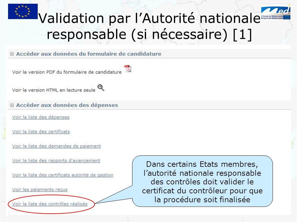 Validation par l'Autorité nationale responsable (si nécessaire) [1]